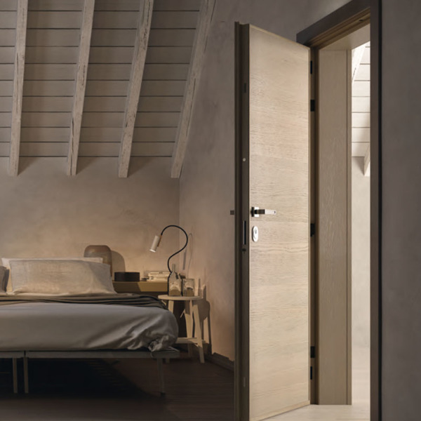 Garofoli - Porta blindata Sovrana con pannelli lisci 6 mm mod. Gabilia 1L in rovere Grigio Creta