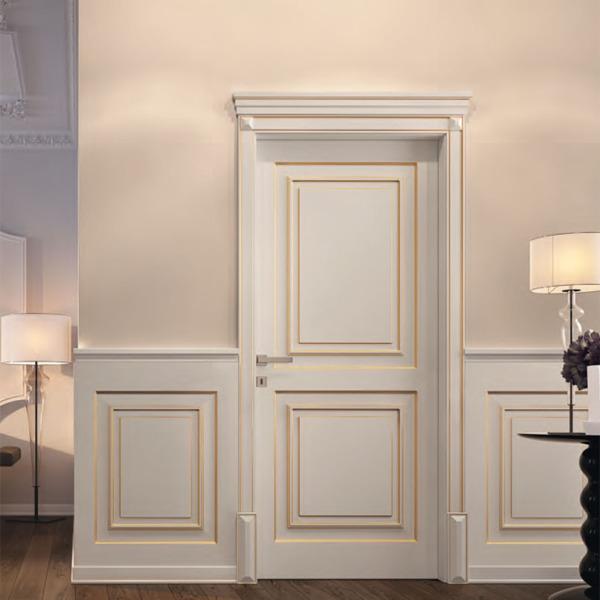 Garofoli - Porta blindata Sovrana con pannello pantografato Garofoli, laccato bianco-oro, con diamanti, basette e cimasa