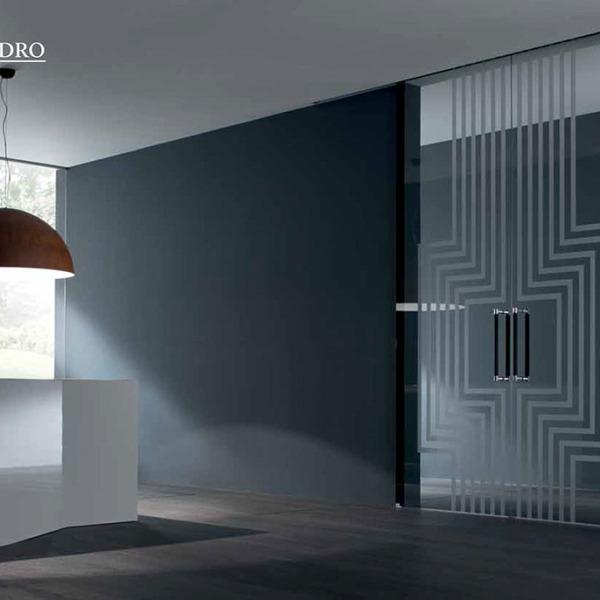 Henry Glass - Collezione Vetroveneto - Alessandro Mendini - Scorrevole esterno muro Inside decoro Labirinto
